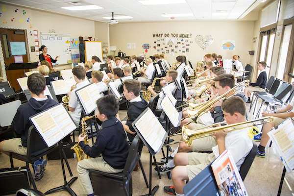 middle school band at St. John's Episcopal School