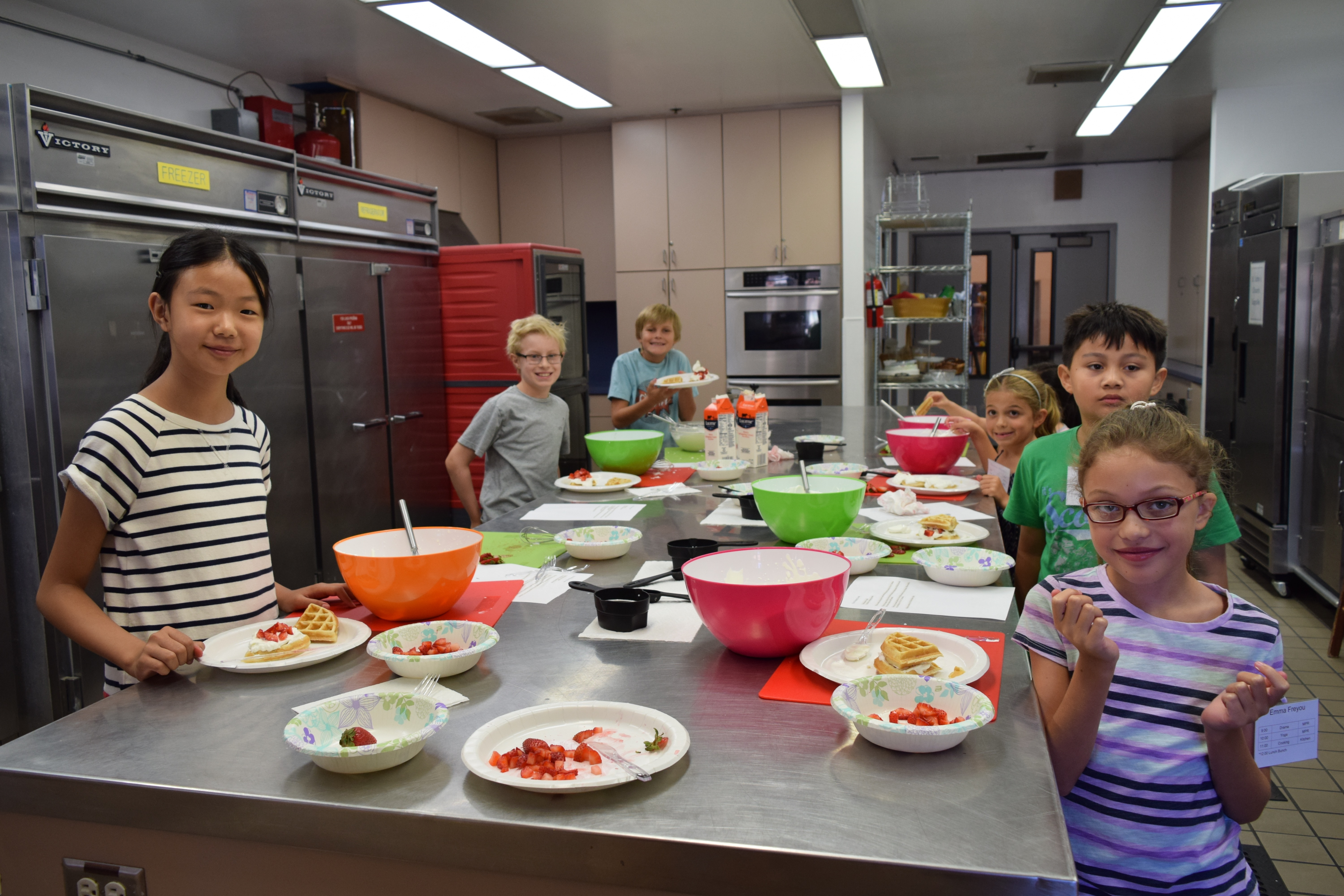 students in kitchen